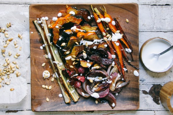 Fall Vegetable Roast with Fennel Squash Seeds & Sour Cream Sauce |I Will Not Eat Oysters