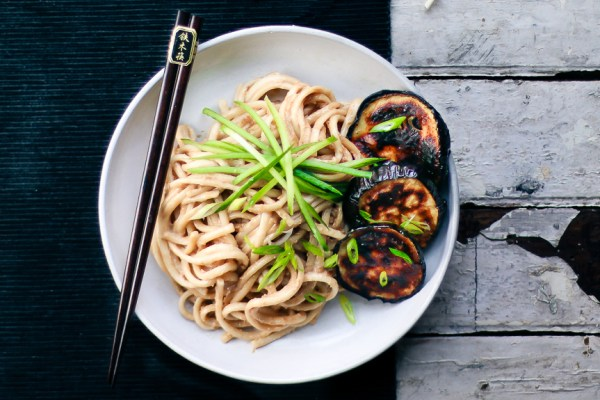 Tahini Udon Noodles with Roasted Eggplants | Japan meets Middle East | I Will Not Eat Oysters