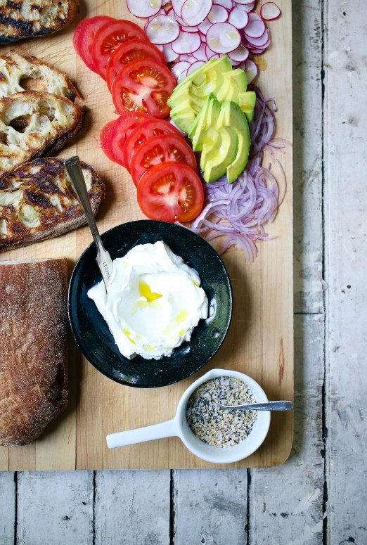 Everything Bagel Spice on toasted ciabatta with labne | I Will Not Eat Oysters