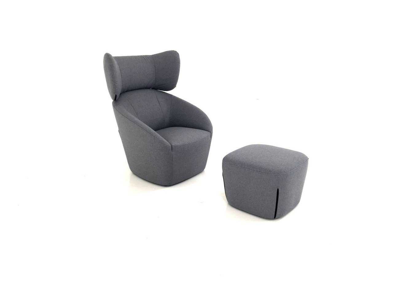 Sessel Stoff Mit Hocker Freistil 178 Rolf Benz Hochlehn Sessel Mit Hocker In Stoff Blaugrau