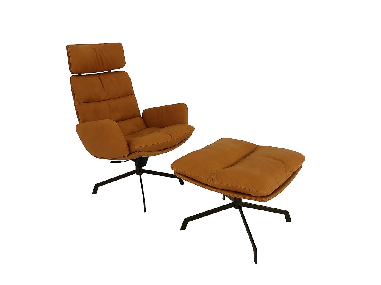 Sessel Cognac Kff Arva Lounge Sessel In Leder Silk Cognac Mit Wipp Funktion Und Hocker