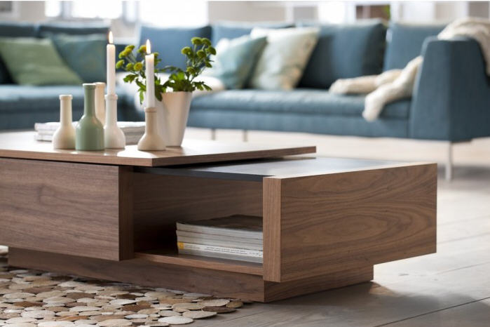 Design Lili Meuble Tv Table Basse Atylia, Table Basse Extensible Noyer Time