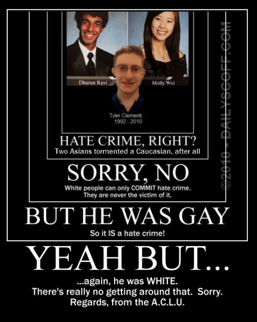 Tyler Clementi victim of Asian vs Caucasian or straight vs.  gay hate crime