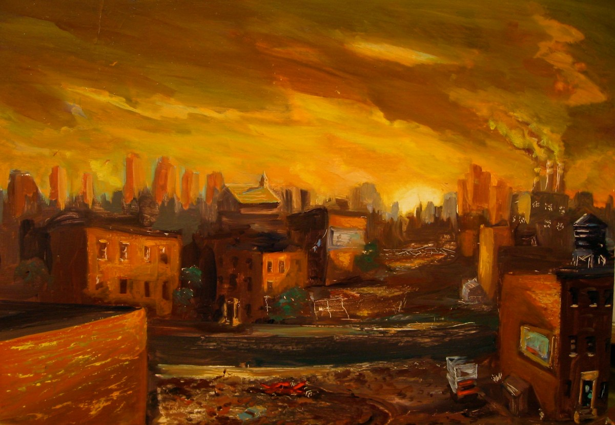 "Summertime, South Bronx, oil on panel, 16x22"", 1996"