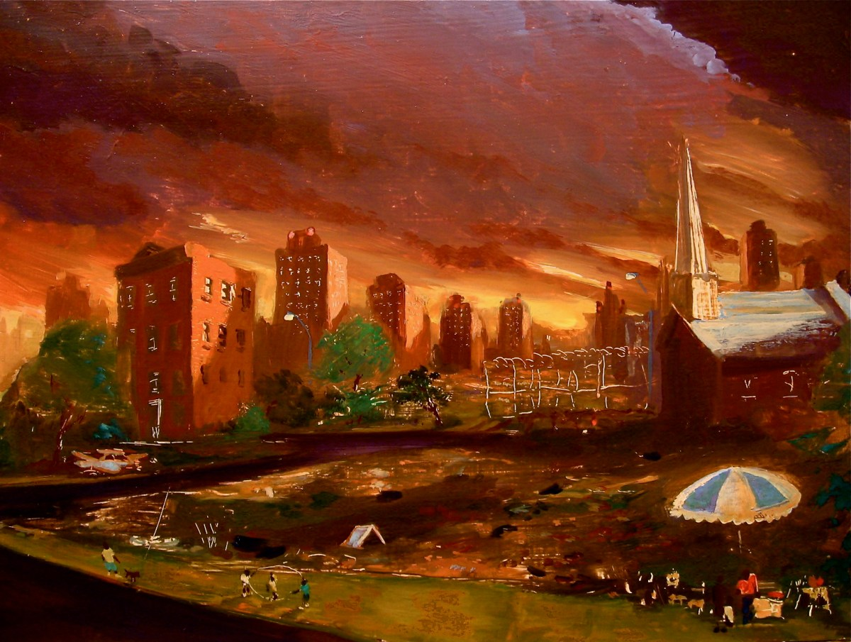 Fall, South Bronx, oil on panel, 16x22',1996