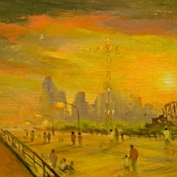 "Summer Sunset, Coney Island, oil on panel, 10x20"", 2009"