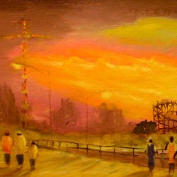 "Fall Sunset, Coney Island, oil on panel, 10x20"", 2009"