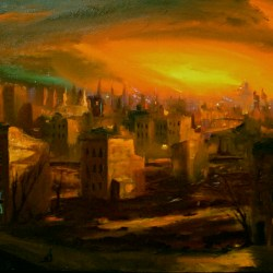 "Sunset, South Bronx, oil on canvas, 32x48"", 1992"