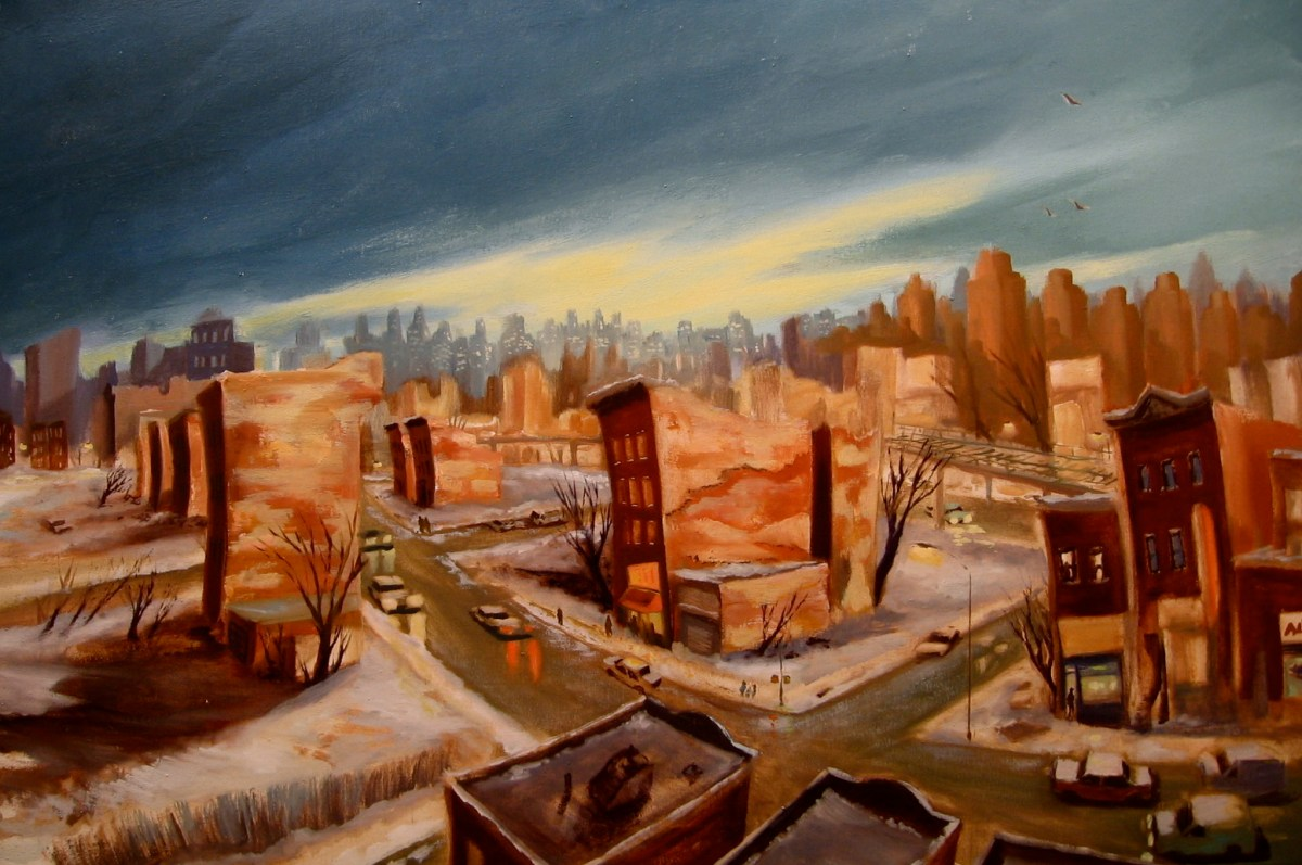 "Winter, South Bronx, oil on canvas, 34x48"", 2010"