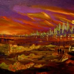 "Mob Meeting 2, oil on panel, 16x22"" 2014"