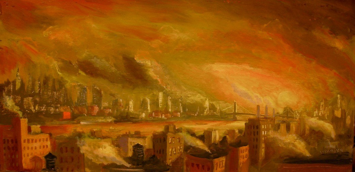 """East River Dawn, oil on panel, 12x24"""" 2014"""