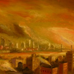 "East River Dawn, oil on panel, 12x24"" 2014"