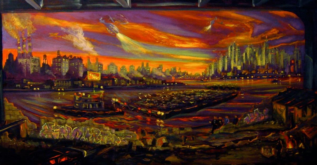 "Walk Talk Under The Highway, 2014, oil on canvas, 24x48"""