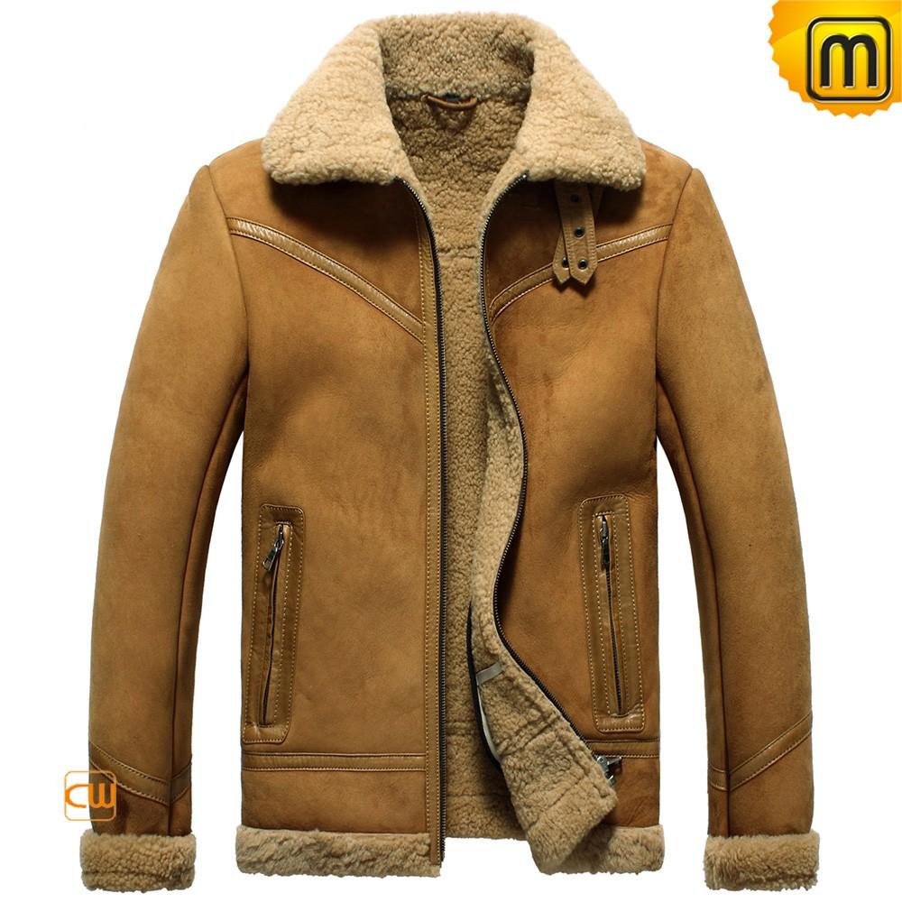 Shearling er jacket for men cw865139 fur lined leather jacket