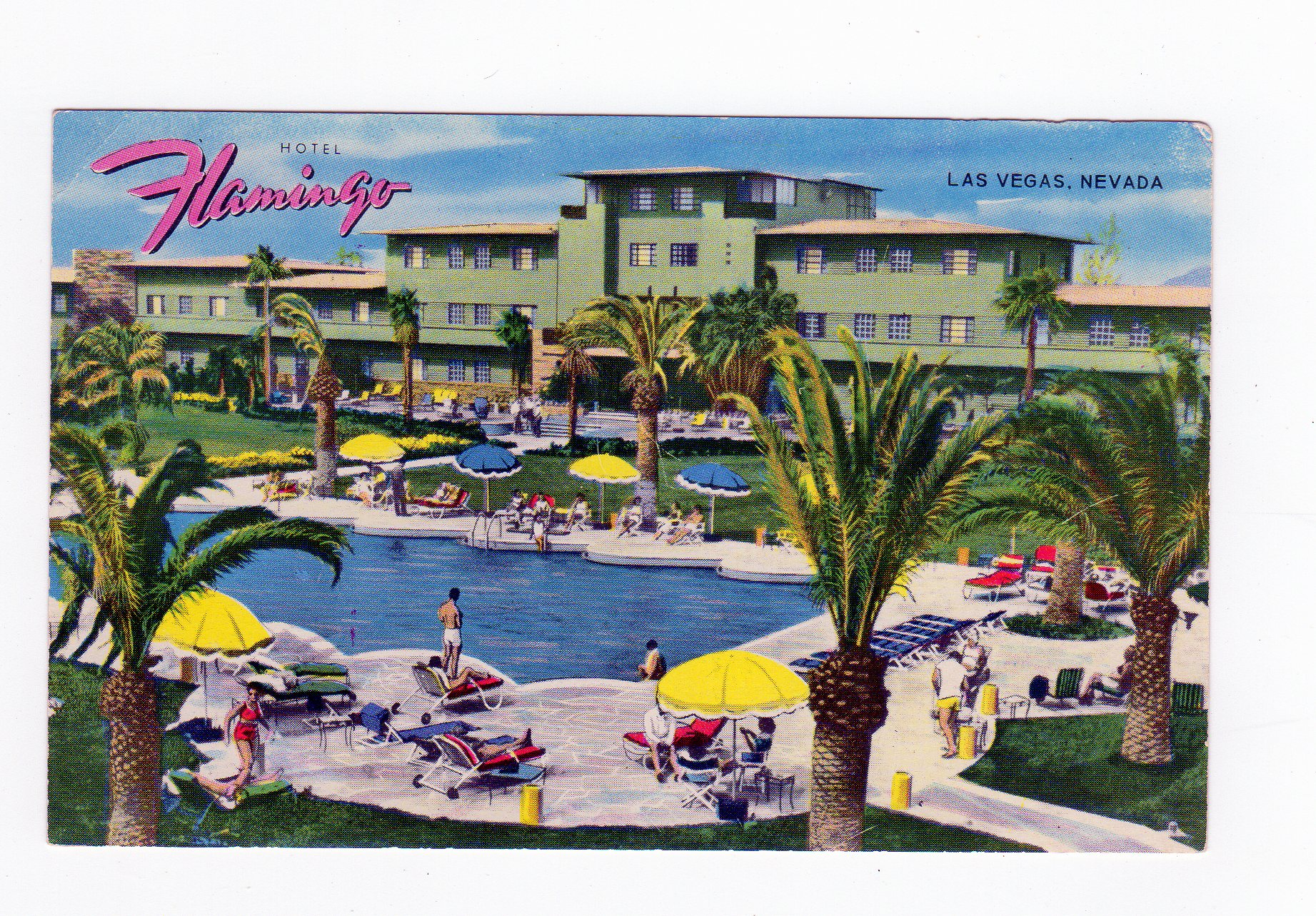Flamingo Las Vegas Kid Pool Chrome Postcard Hotel Flamingo Las Vegas Nevada Pool
