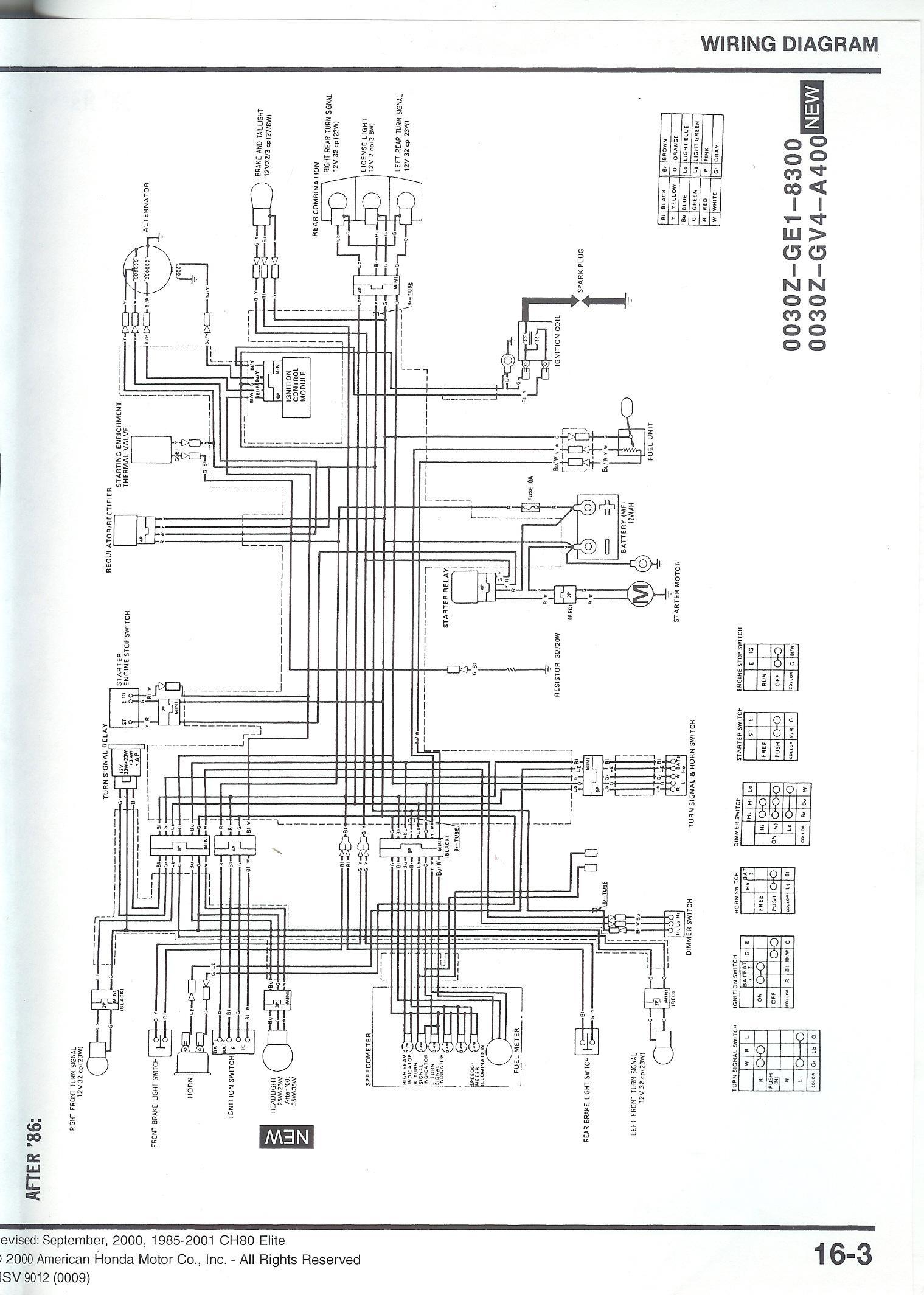 1994 Honda Elite 80 Wiring Diagram Auto Electrical