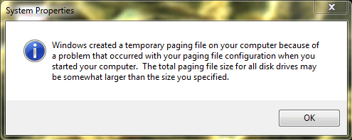 Windows 7 Windows Created A Temporary Paging File On
