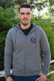 J - Fine Time gray hoodie front