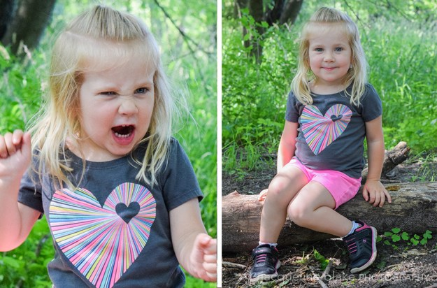 fun children's photography in the woods