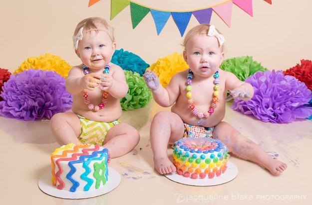 twin girl one year smash cake photo session