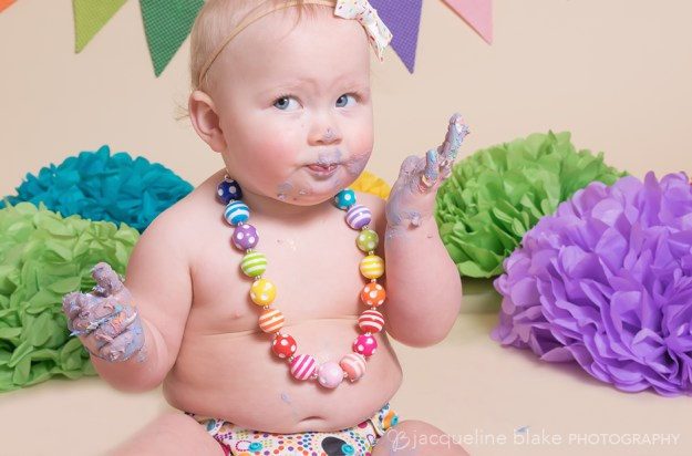 one year smash cake studio photography session in ham lake
