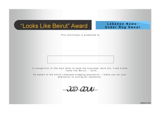 Jad's Looks Like Beirut Certificate