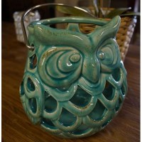 Green Ceramic Owl Candle Holder - Jade Pagoda