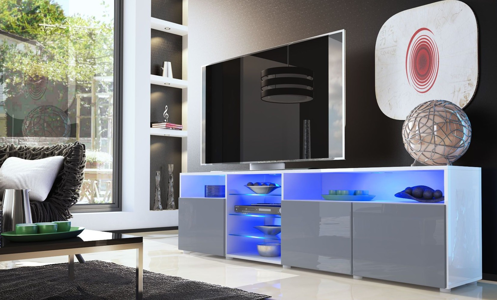 Meuble Tv But Gris Meuble Tv Bas Blanc Gris 194 Cm Ja Discount