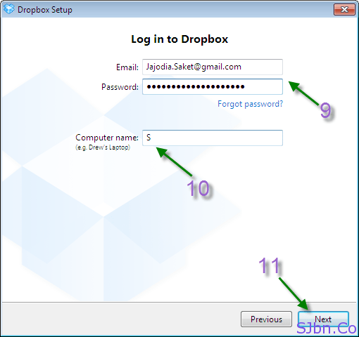 Log in to Dropbox