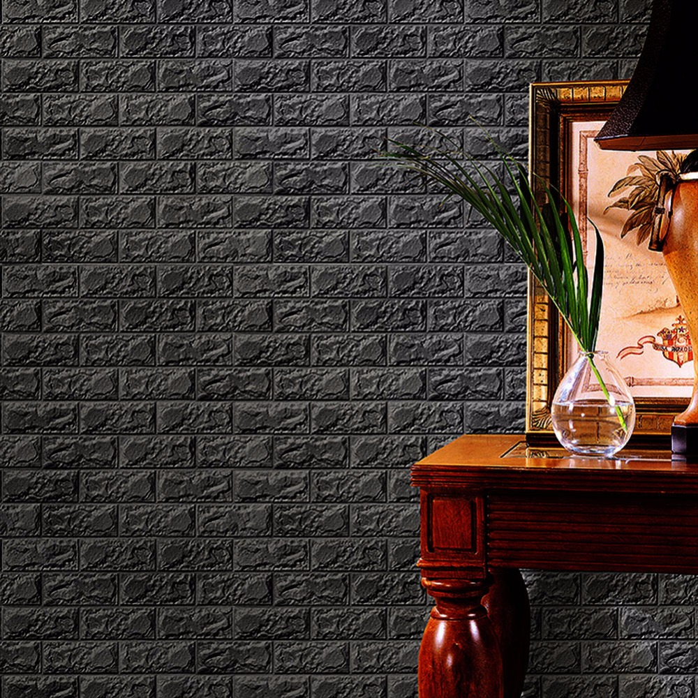 Wallpaper Tembok Hd Sticker Wallpaper Dinding 3d Embosed Model Bata 60x30cm White
