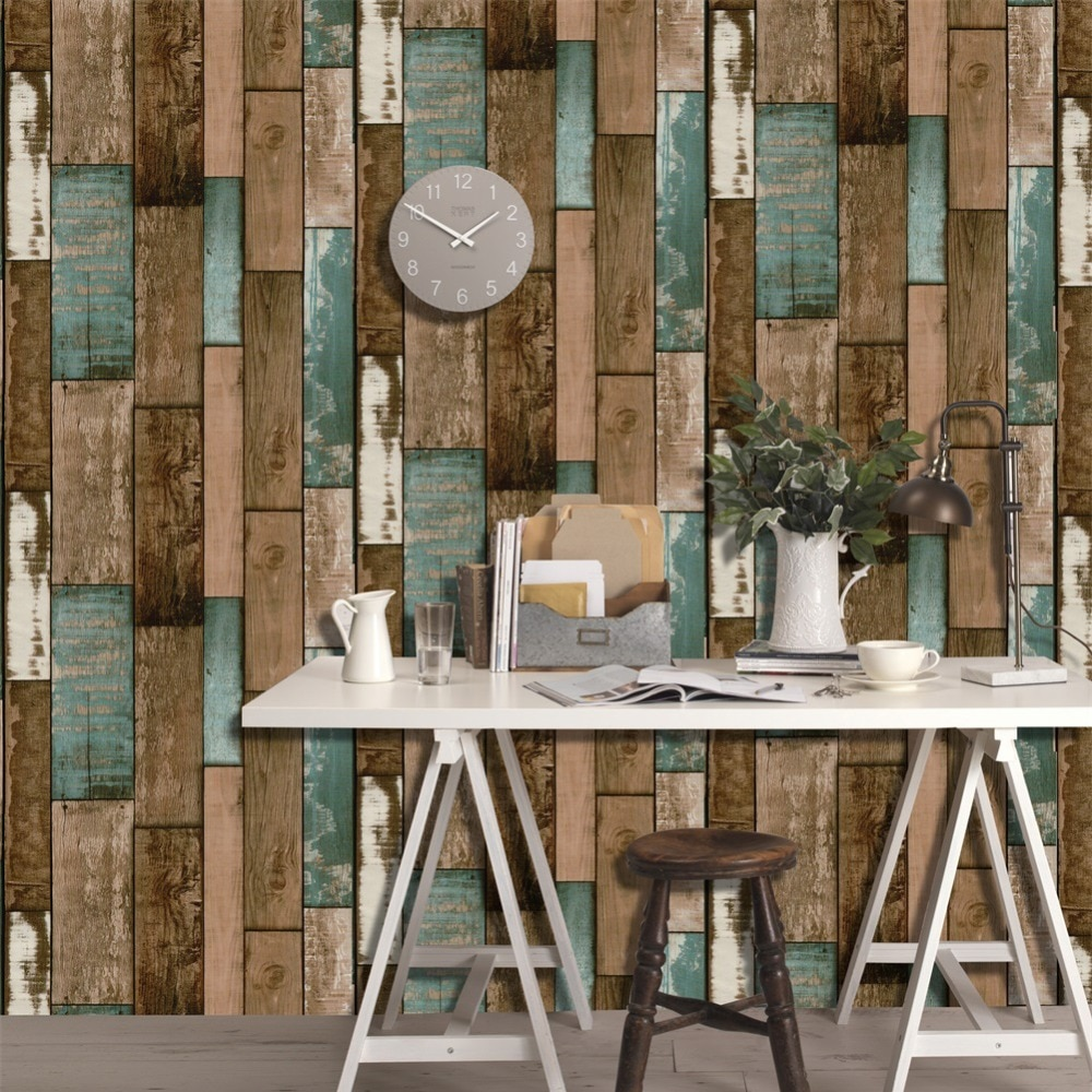 Welpeper Dinding Haokhome Sticker Wallpaper Dinding 3d Vintage Wood Grain 70x70 Cm Yellowish Brown