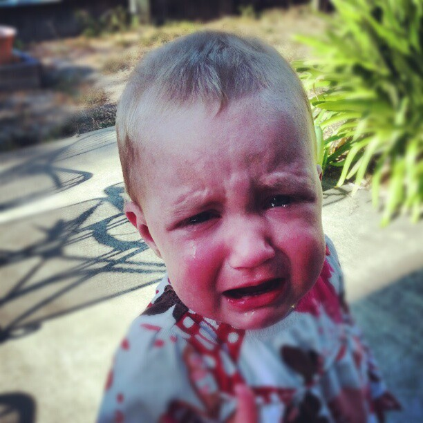 What a sad baby...