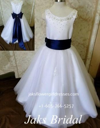 White and navy blue flower girl dresses archives jaks bridal f0009 flower girl dresses with blue sash mightylinksfo
