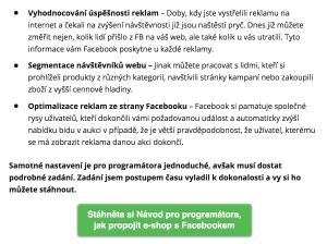 Příklad získávání kontaktů díky content upgradu v článku