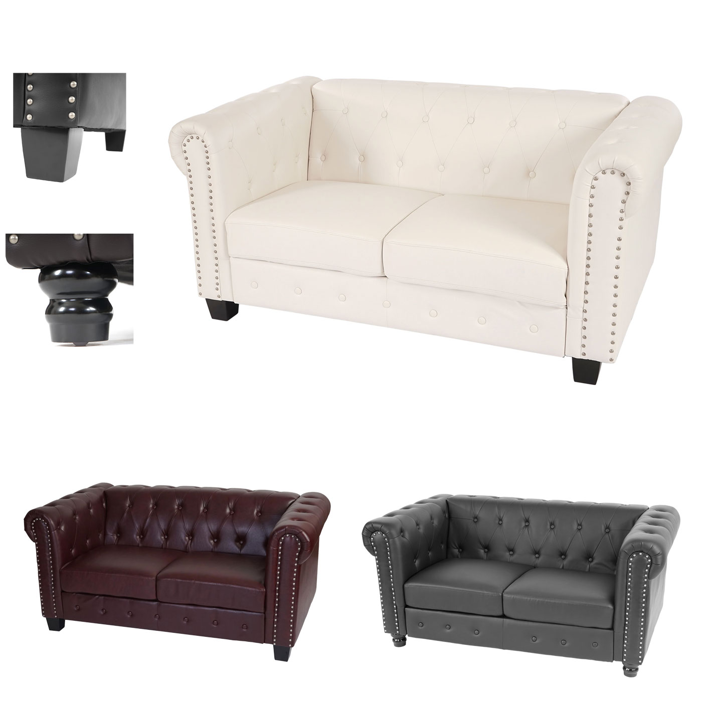 2er Sofa Chesterfield Stil Chesterfield Lounge 2er Sofa Couch Runde Füsse Jamb Ch