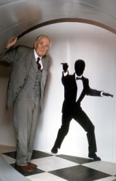 """PKT3162 - 220673 Desmond Llewelyn, who played """"Q"""" in the James Bond films, opened an exhibition called """"Live and Let's Spy - Who Was The Real Q?"""" at Dover Castle."""