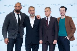 "Eon Productions, Metro-Goldwyn-Mayer and Sony Pictures Entertainment announce the 24th James Bond adventure "" SPECTRE. "" Pictured: (L to R) Dave Bautista, Sam Mendes, Christoph Waltz and Andrew Scott."