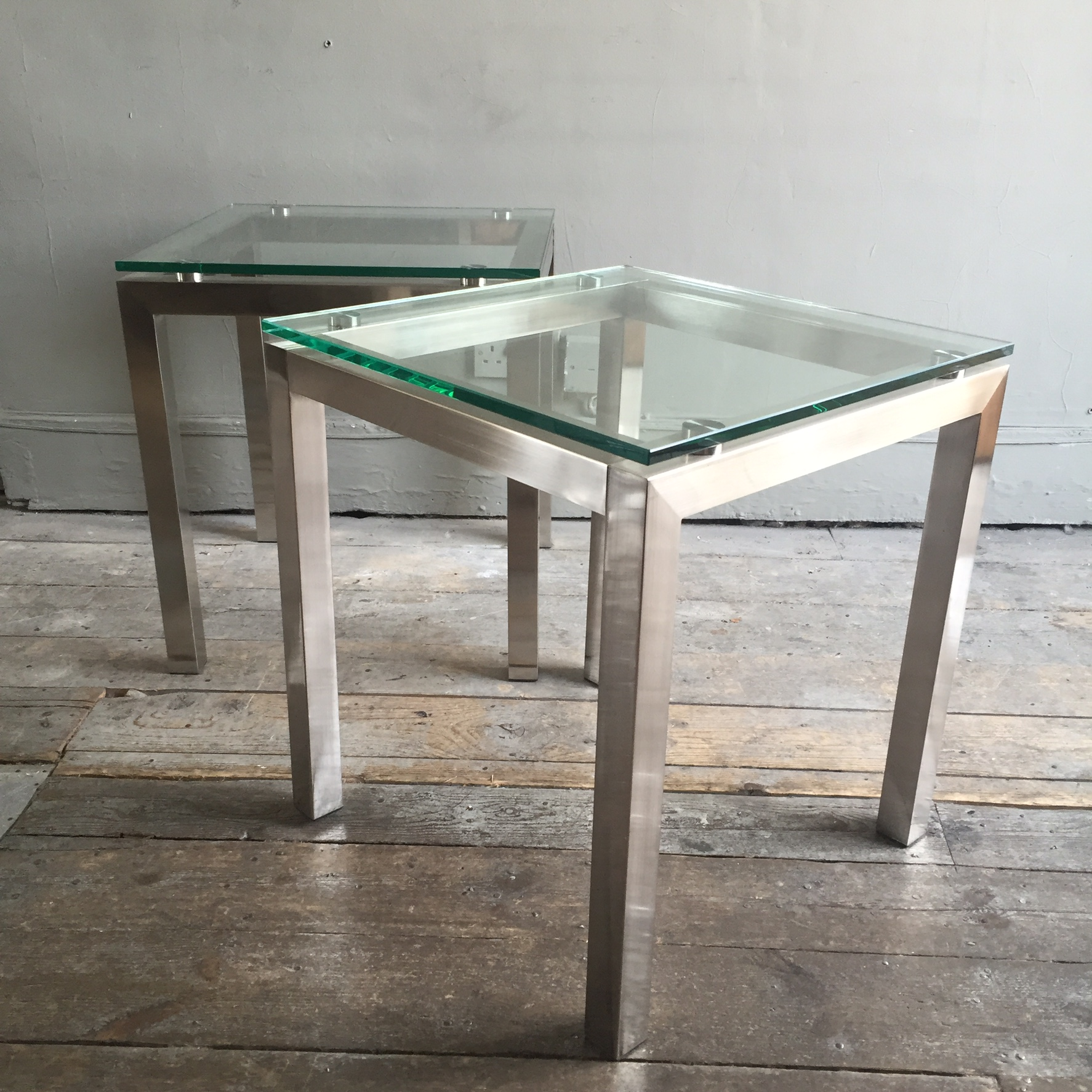 Metal Glass End Tables Steel And Glass End Tables James Iles Antiques