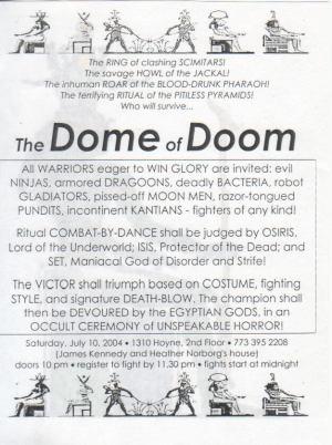 Egyptian Dome of Doom - Invitation Text