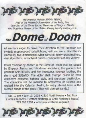Japanese Dome of Doom - Invitation text
