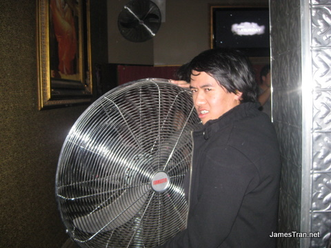 Me with one of the fans in the attempt to keep the place cool