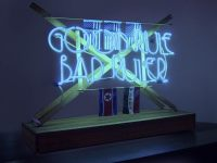 "Good Rule Bad Ruler, 3' x 27"" x 11"", wood, found objects, argon tube, electronics"