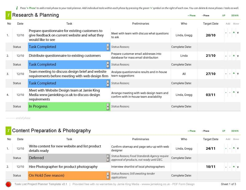 Task Manager Project Planning Template Tool - project to do list templates