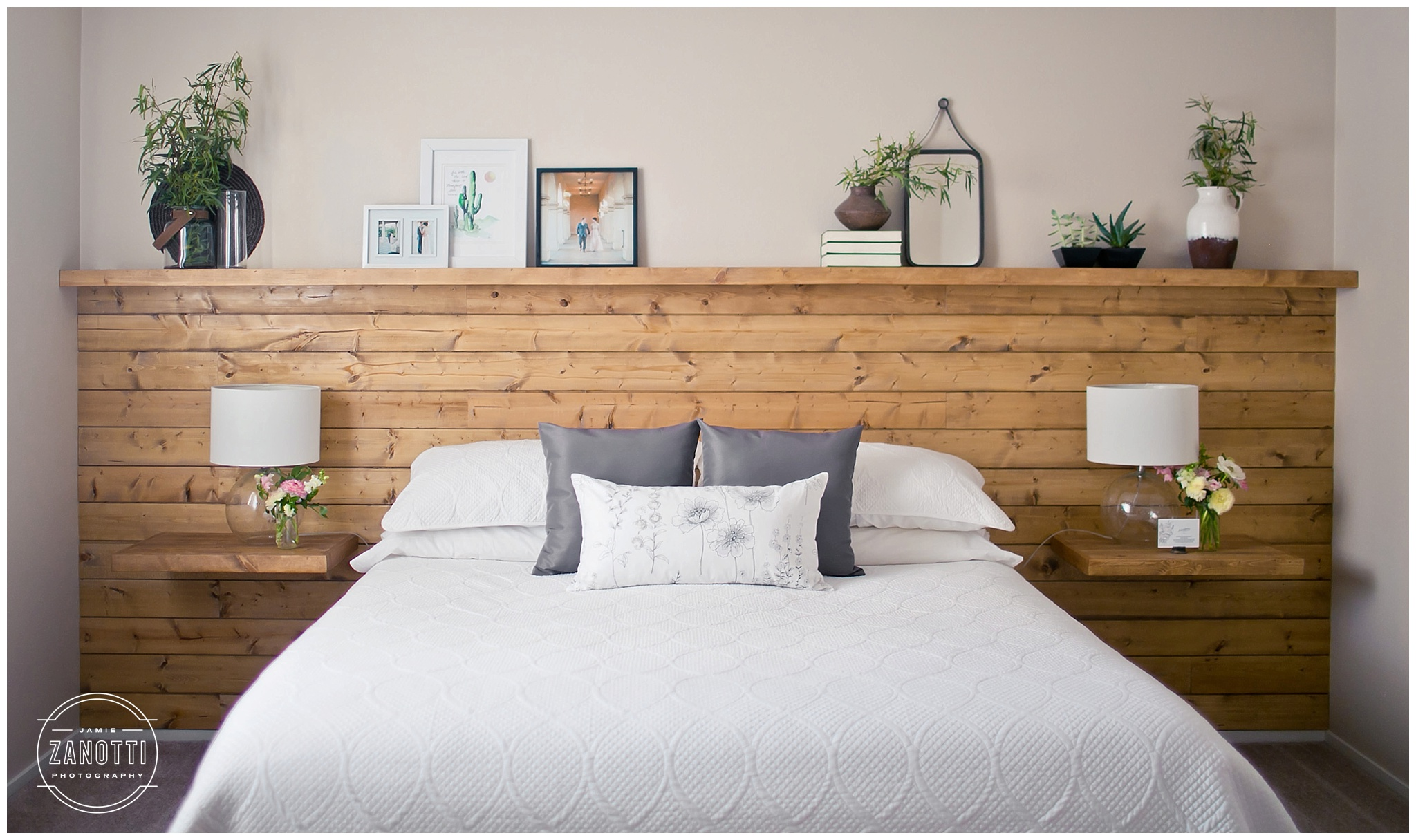 Floating Bedroom Shiplap Headboard Wall With Floating Nightstand Shelves