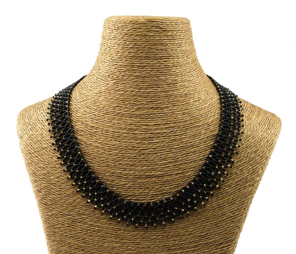 Isabella Black Front - Beaded Necklace