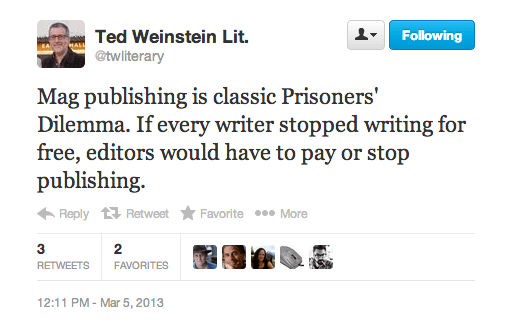 Ted Weinstein tweet on magazine publishing