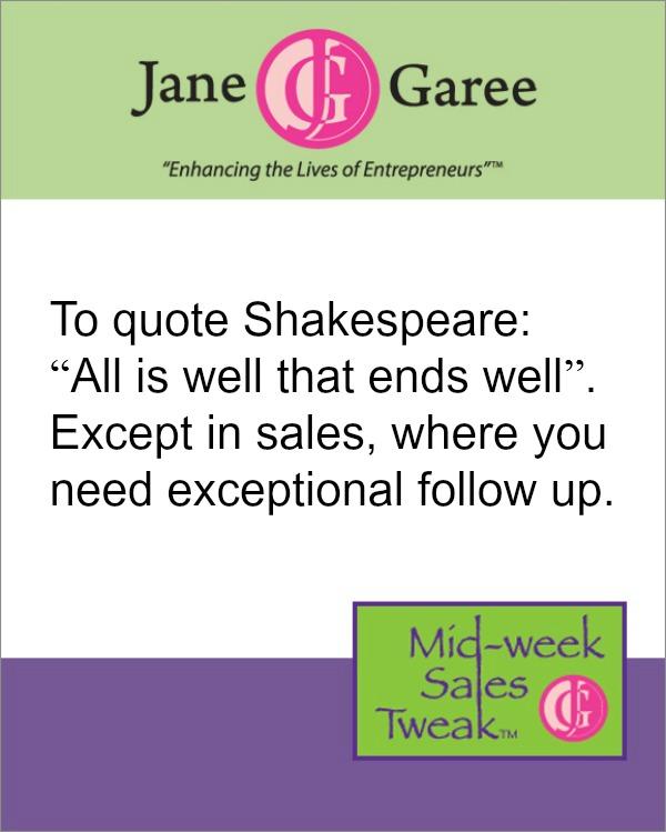 Mid Week Sales Tweak Exceptional Follow Up - follow sales