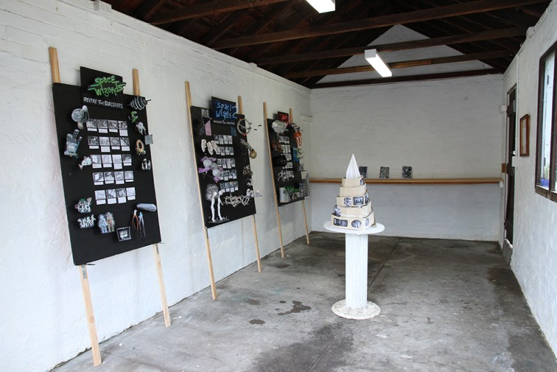 """Simon Yates, """"Return of the Space Wizards"""" 2015. Mixed media, installation view."""