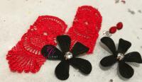 Big black flower earrings with swarovski diamonds ...