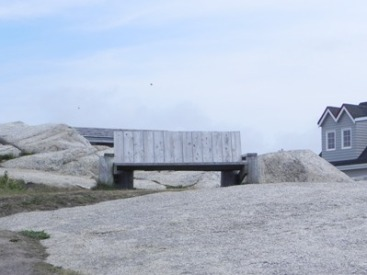 Wooden bench on the rocks at Peggy's Cove